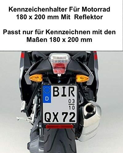 1x Kennzeichenhalter Für Kennzeichen im Format 180 x 200 mm 18 x 20 cm (für Motorrad Roller) Material ABS Kunststoff Schwarz (Unlackiert) Mit Rückstrahler Reflektor mit Zulassung