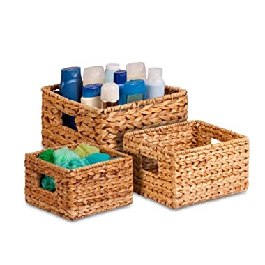 Honey-Can-Do STO-02882 Nesting Banana Leaf Baskets, Multisize, 3-Pack