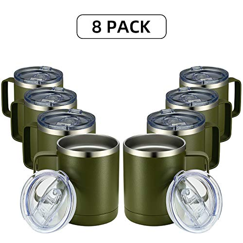 MEWAY 12oz Coffee Mug With Handle 8 Pack Bulk,Stainless Steel Insulated Travel Tumblers With Sliding Lid,Double Wall Vacuum Camping Cup for Hot & Cold Drinks Tea (Army Green,Set of 8)