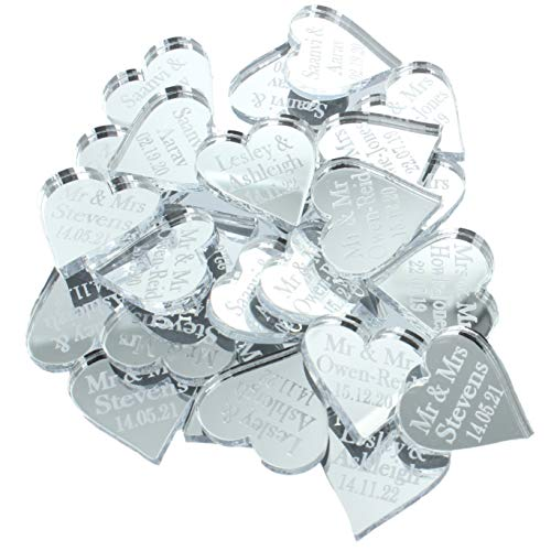 Personalised Wedding Favours Mr & Mrs Venue Decor Table Decorations Sprinkles Confetti Centrepiece Good Luck Charms - Silver Mirror Acrylic (Small 2cm Love Hearts x 50) LittleShopOfWishes