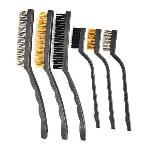 FOCCTS 6 Mini Cepillo de Alambre Práctico Establecer Metal Pintura Limpiar Acero Inoxidable/Nylon/Cepillo de Latón