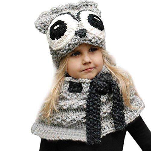 VENMO Niños Sombrero y Bufandas, Invierno Niños Niñas Zorro Animales Punto Gorras y Bufanda Conjunto (B)