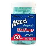 Mack's Original Soft Foam Earplugs, 50 Pair - 32dB Highest NRR, Comfortable Ear Plugs for Sleeping, Snoring, Work, Travel & Loud Events, Teal Green