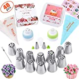 Russian Piping Tips Set 48 Pcs Cake Cupcake Decorating Supplies Kit Flower Frosting Tips 12 Icing...
