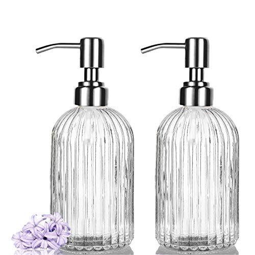 PANENDIANO Seifenspender Nachfüllbarer Spender aus Glas 2PCS 500ml/16OZ Soap Dispenser Schaumspender für Geschirrspülmittel, Shampoo-Lotion, Badezimmerarbeitsplatte, Küche, Waschküche, Büro