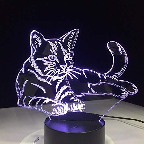 Knuffelige kat liggen3D lamp bedlampje, nachtlampje voor de kinderkamer, led-lamp voor de woonkamer perfect geschenk voor kinderen