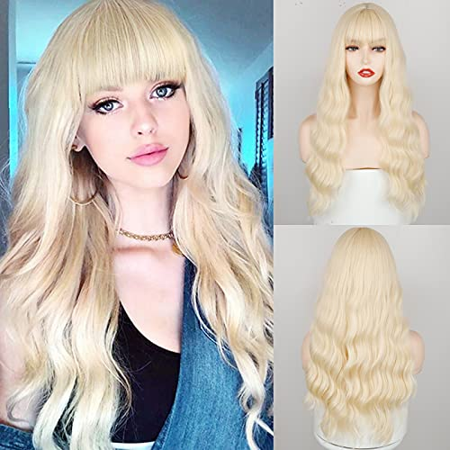 MERISIHAIR Natural Blonde Long Wavy With Bangs Wig, Long Fluffy Blonde Curly Wavy Wigs for Women, Synthetic Realistic Wig for Halloween Party Daily Wear