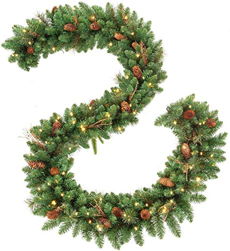 BONIKIN 9 FT Christmas Garland with 50 Clear Lights,Decorative Garland,Xmas Garland with Pine Cones,Different Types of Green Leaves