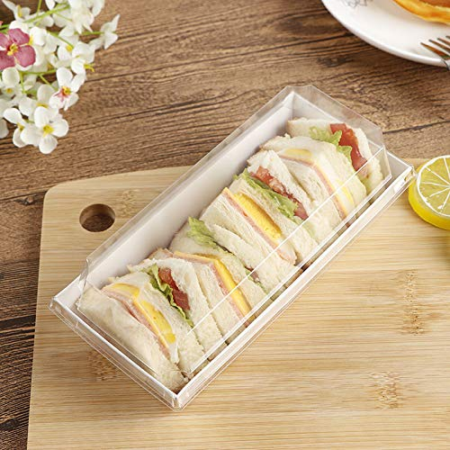 50 Pcs Roll Cake Box Set Hot Dog Sandwich Clear Lid Plastic ContainerSwiss Roll Container Muffin Cheese Pastry Dessert Sushi Fruits Display Food Storage Holder 75x33x24