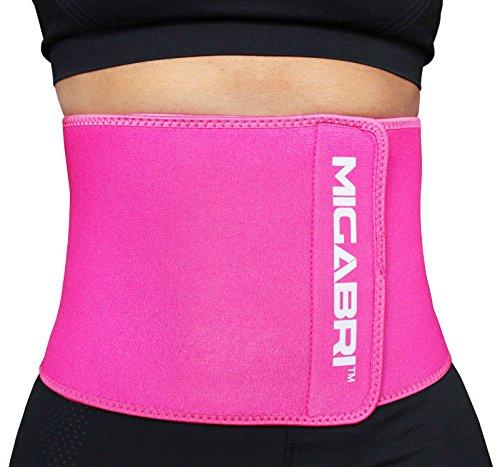 MIGABRI Sport Korsett XT10- Bauch Weg Gürtel REGT die Fettverbrennung an, tonisiert die Bauchmuskeln- Fitness Gürtel für Männer und Frauen- inklusive Schweißtuch und Anwendungsbuch - Rosa