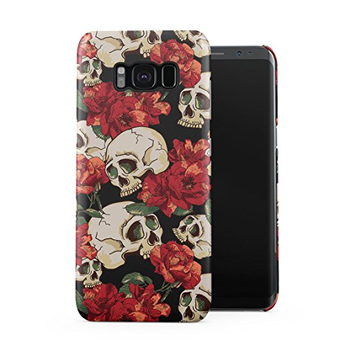 Grunge Skeleton Skulls Pattern Roses Wildflower Floral Hipster Plastic Phone Snap On Back Case Cover Shell Compatible with Samsung Galaxy S8