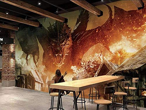 MINCOCO Hobbit Dragon Benutzerdefinierte Fototapete für Wohnzimmer 3d Wandbilder Wandtapete für Wände 3 D TV Hintergrund Tapete, 300x210 cm (118.1 by 82.7 in)