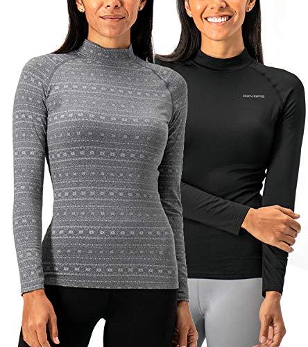 DEVOPS Women's 2 Pack Thermal Turtle Long Sleeve Shirts Compression Baselayer Tops (Medium, Black/Heather Flower)