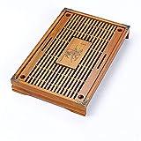 JenLn Mesa de té gongfu Tablero de té de Gongfu Chino Sirviendo bandejas para la Oficina en casa de la casa de té Tipo de Drenaje para la casa de té (Color : Brown, Size : One Size)