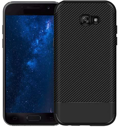 MADIBA Hülle kompatibel mit Samsung Galaxy A5 2017 Carbon Black Design Optik (Ultraleicht) Silikon Bumper [Biegsam Und FederLeicht] A5 Carbon