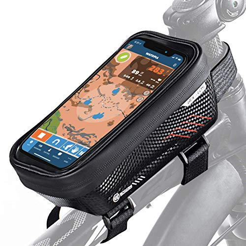 """BUCKLOS Bicycle Front Frame Bag Fit Under 6.5"""",Waterproof Bike Phone Bag Front Top Tube Bike Pouch Bag Handlebar Pressure Resistance Hard Shell Compatible with iPhone 11 12 Max XR"""