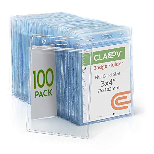 Claev Vertical Large (L) ID Badge Holders (Clear, 3x4 Inch, 100 Pack), Clear Easy Open Plastic Name Card Holders for Conferences, Conventions, Offices & Schools