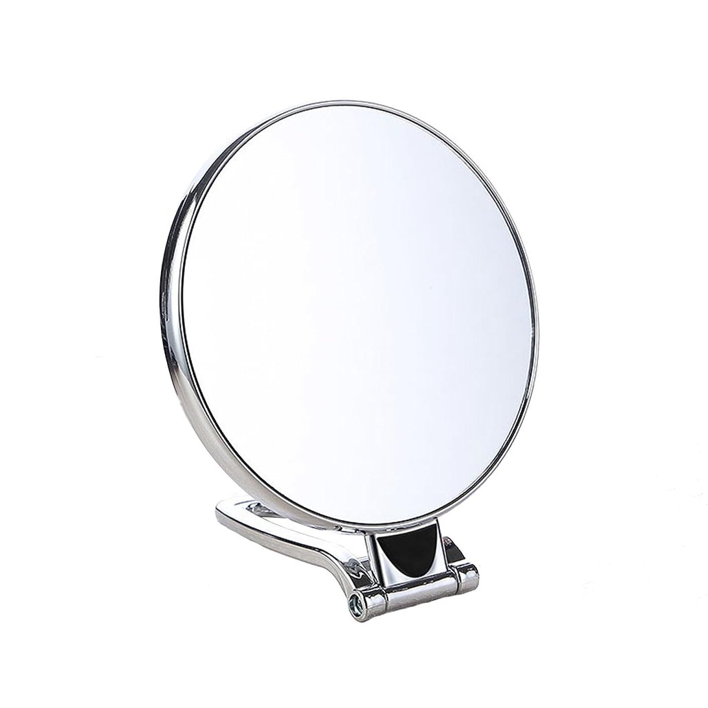 世論調査遠い花瓶デスクトップ化粧鏡、両面ハンドルミラー、ポータブル折りたたみウォールミラー、バスルームミラー、多機能ミラー (Color : 15.2*12.2CM)