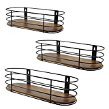 Calenzana Oval Floating Wall Shelves Set of 3 Rustic Wood Wire Frame Hanging Shelf for Bathroom Bedroom...