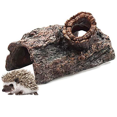 Yaosh Igelhäuser Für Garten Wasserdicht, Harz Igel Futterstation Multiigelhaus Shelter, Umweltschutz Hibernation Shelter Imitation Baum Loch Nicht Verblassen,A