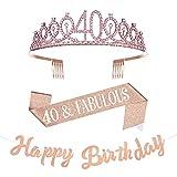 Taumie Cristal Corona de Cumpleaños para Mujer, Tiara con Faja de 40th Cumpleaños, Banner de Feliz Cumpleaños, Princesa Feliz Accesorios para Fiestas de Cumpleaños, Favores, Decoraciones