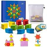 Comius Sharp 155 Stück Holzpuzzles Geometrische Puzzle Spielzeug Bausteine Montessori Spielzeug mit 24 Stücke Design Karten für Kinder Mädchen und Jungen ab 5 Jahr