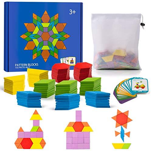 Comius Sharp 155 Piezas Puzzles de Madera Bloques de Madera Juguetes Tangram Puzzle con 24 Piezas Tarjetas de Diseño, Blocks Juguetes Educativos Clásicos Niños