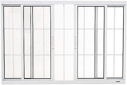 Janela 4 Folhas em Alumínio 120 x 150 x 8,4 cm com Grade Branco Boldie Prado Alumínio