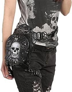 Gothic Steampunk Skull Bag Women Leather Rivet Waist Small Motorcycle Leg Bag for Men