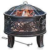 Copper Effect Ring and Feet Details with Mesh Spark Guard LIVIVO Saturn Fire Pit Brazier with Black Weave Effect Frame Poker Tool and BBQ Grill Insert