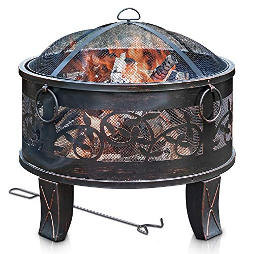 LIVIVO Lattice Design Fire Pit Brazier with Mesh Spark Guard, BBQ Grill Insert and Metal Fire Poker Iron Weather and Rust-Resistant (26' Round)