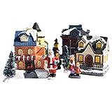 duquanxinquan Village de Noël Lumineux LED 10 pièces Miniature Maison,Noel Maison,Village de noël,Décoration de Noël,Miniature Noel Lumineux,Eclairage Noel,Cadeaux Noel Decoration Noel