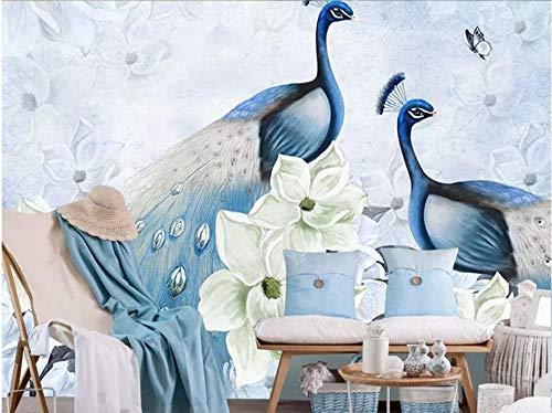 MKmd-s 3D Wallpaper Home Decoration Decals Mural Poster Sticker, Modern Fresh Auspicious Peacock Flower Hand Painting