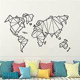 Etiqueta engomada de la pared del mapa del mundo geométrico etiqueta engomada del mural del vinilo decoración del dormitorio del hogar etiqueta de la pared Mural vinilo calcomanía A6 51x30cm
