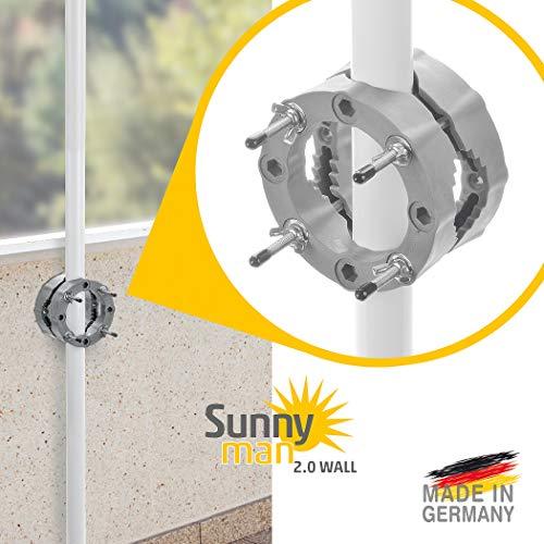 Sonnenschirmhalter Balkon und Terrasse – Sunnyman 2.0 für Wandmontage - Platzsparender und universeller Balkonschirm Wandhalter für alle Sonnenschirme – Made in Germany