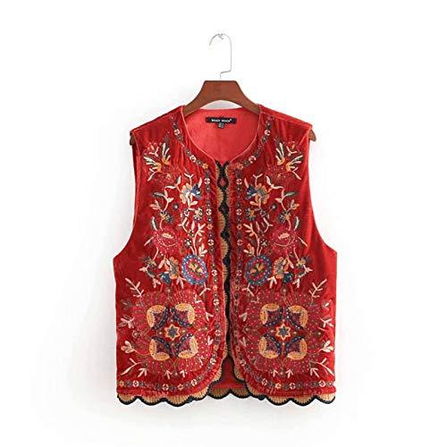 N-B Frauen Vintage Pailletten Blumenstickerei Weste Mantel Damen Retro National Style Patchwork Casual Samt Weste CT154