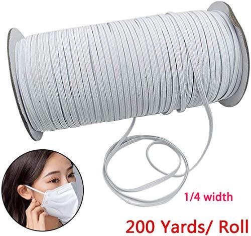 AIJOAIM Elastische band, lange vlakke rubberen banden, 200 yd, 6 mm breed, vlak, elastische band om te naaien, handwerk, rekbaar koord voor kleding rokken broeken tailleband