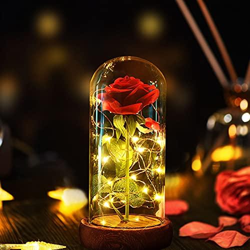 Rose La Bella e la Bestia, Rosa Eterna Kit di Rose Elegante Cupola di Vetro con Base Pino Luci LED, Adatto Per Regali Di San Valentino Anniversario E Festa Della Mamma