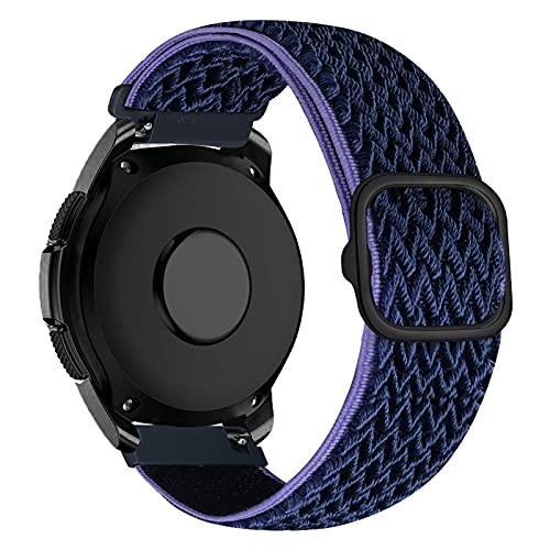 iBazal Correa Galaxy Watch 3 41mm Nylon 20mm Band Trenzada Compatible con Samsung Galaxy Watch Active2 40mm 44mm/Galaxy Watch 42mm Reemplazo para Huawei GT 2 42mm/GTR 42mm/GTS Pulsera Azul Medianoche
