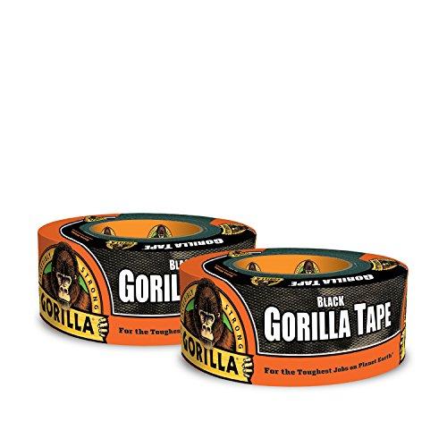 Gorilla Black Duct Tape, 1.88' x 12 yd, Black, (Pack of 2)