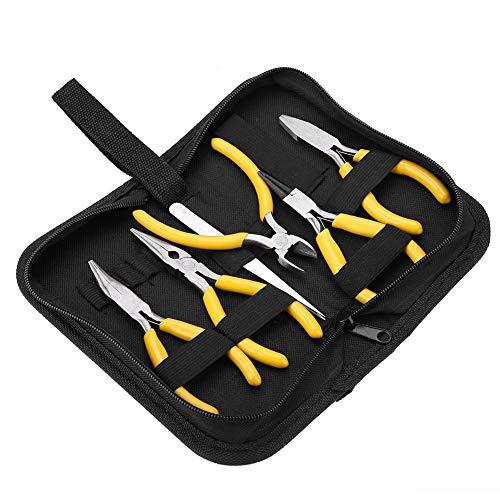 Salmue Alicates de Precisión Un Juego de 5 para Joyeros, Agarre Fácil, Kit Herramientas Resistentes para Electricistas y Carpintería, Bricolaje y Hacer Joyas