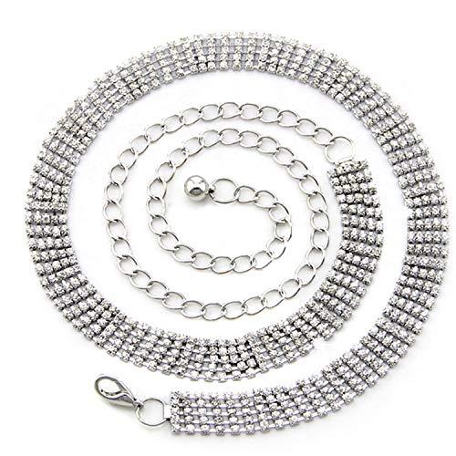 112cm PLATA 5 ROW Diamantes De Imitación Correa Cintura Para Las Mujeres...