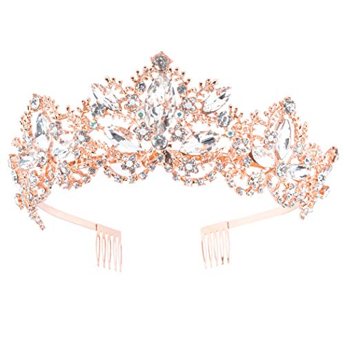 Exacoo Gold Tiara and Crown for Women Crystal Crowns with Comb Rhinestones Headband Princess Hairpiece for Girls Wedding Hair Accessories for Bachelor Party, Bride, Bridesmaids, Bridal, Prom, Halloween Costume, Cosplay (Rose Gold with Combs)