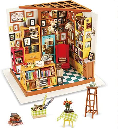 Rolife DIY Miniature Dollhouse Craft Kits for Adults Mini Library Model Building Set Sam s Study product image