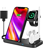 4 in 1 Wireless Charging Station for Apple Products, Fast Wireless Charger Charging Stand Compatible with Apple Watch SE 6 5 4 3 2, AirPods Pro, Pencil and iPhone 12, 11, 11 Pro max, Xr Xs max, X