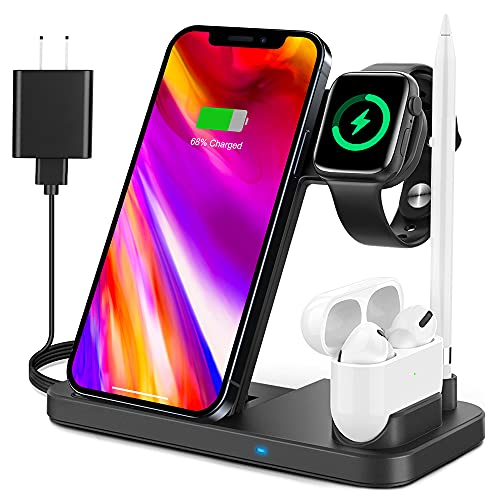 4 in 1 Wireless Charging Station, 2021 Upgraded Wireless Charger Stand Compatible with Apple Watch SE 6 5 4 3 2, AirPods Pro and Pencil, Fast Charging...