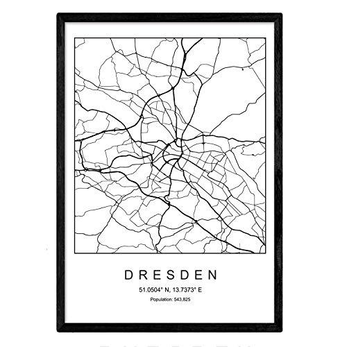 Nacnic Minimalistische Stadtplanen Poster. Geometrische Stil Wanddekoration Abbildung von Dresden. Verschiedene Deutsche Stadtkarten, Plänen und Reisen Bilder ohne Rahmen. Größe A3.