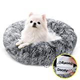 Docatgo Lit pour Animaux, lit pour Chat Donut 60x60 cm pour Chiens, Peluche en Fausse Fourrure avec Duvet, lit avec Coussin pour Animaux de Compagnie pour Chiens et Chats de Taille Moyenne