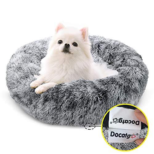 Docatgo Plüsch-Haustierbett für Katzen und kleine mittelgroße Hunde, kuschelig, weiches Kissen, rundes Bett für Katzen