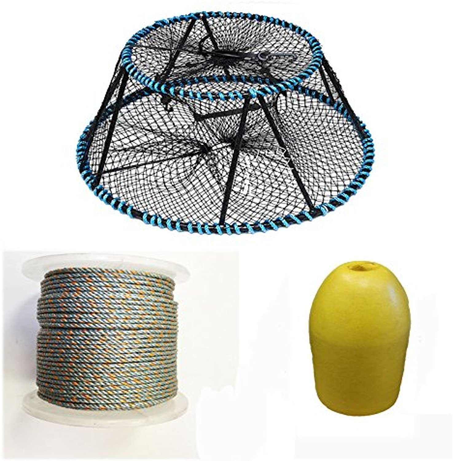 """KUFA Sports Vinyl Coated Tower Style Prawn Trap(35 x21 x16.5 H,Mesh 11 8 ), 5 16  x 400' Lead Rope & 11"""" Bullet Folat Combo (CT150+LP4+F11Y)"""